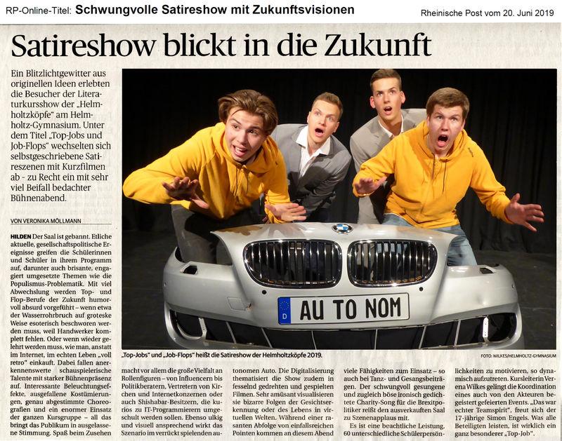 'Top-Jobs und Job-Flops' Helmholtzköpfe-Show RP-Artikel